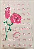 "Printed Flat Paper Shopping Bags - 6"" x 9"", Pink Rose"