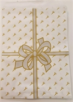 "Printed Flat Paper Shopping Bags - 8"" x 12"", Gold Ribbon"