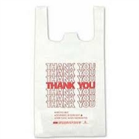 "White ""Thank You"" T-Shirt Bags - 12"" x 7"" x 23"""