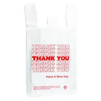 "White ""Thank You"" T-Shirt Bags - 8"" x 5"" x 10"""