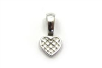 Antique Silver Color Heart Glue on Bail