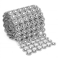 "Silver Flower Shape Mesh Ribbon - 4""x 10 Yards"