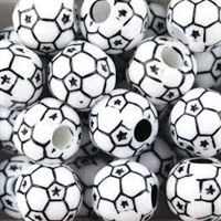 Team Sports Acrylic Soccer Ball Beads - 12 mm - 60pc