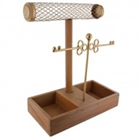 Metal Keys Jewelry Display Jewelry Stand with Wood Base
