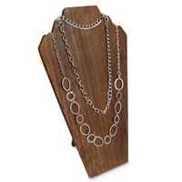 Wooden Jewelry Display Bust with Easel for 2 Necklaces - Brown