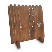 Wooden Plank Necklace Jewelry Display Stand for 8 Necklaces - Brown