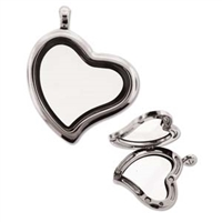 Floating Locket Pendant - Silver Plate Tilted Heart