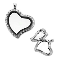 Floating Locket Pendant - Silver Plate Tilted Heart with Stones