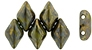 Matubo GEMDUO Bead, 8x5mm, 2-Hole - Opaque Olive Bronze Picasso