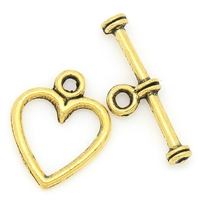 Gold Plate over Sterling Antiqued Small Heart Toggle - 12mm