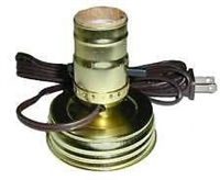 Brass Canning Jar Lamp Adapter - Wide Mouth - Brown Cord