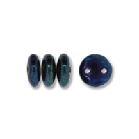 2-Hole Lentil Bead, 6mm, - Iris Blue