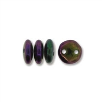 2-Hole Lentil Bead, 6mm, - Iris Purple