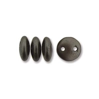 2-Hole Lentil Bead, 6mm, - Grey Brown