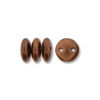 2-Hole Lentil Bead, 6mm, - Matte Metallic Copper