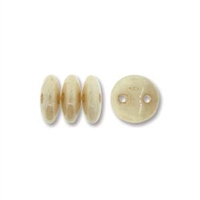 2-Hole Lentil Bead, 6mm, - Opaque Luster Champagne