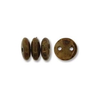 2-Hole Lentil Bead, 6mm, - Beige Bronze Picasso