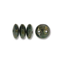 2-Hole Lentil Bead, 6mm, - Turquoise Bronze Picasso