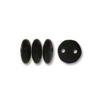 2-Hole Lentil Bead, 6mm, - Matte Jet
