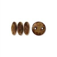 2-Hole Lentil Bead, 6mm, - Beige Copper Picasso
