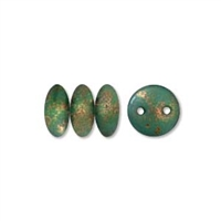 2-Hole Lentil Bead, 6mm, - Copper Picasso Turquoise