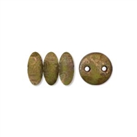 2-Hole Lentil Bead, 6mm, - Chartreuse Copper Picasso