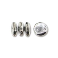 2-Hole Lentil Bead, 6mm, - Silver