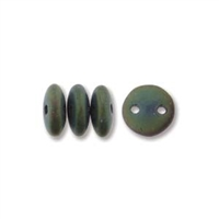 2-Hole Lentil Bead, 6mm, - Matte Iris Green