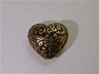 25x22mm Filigree Heart Antique Gold Washed