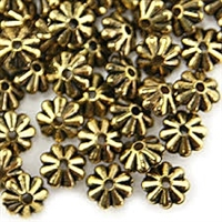 10mm Floral Rondelle - Small Hole - Antique Gold