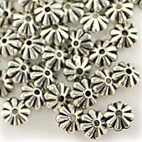 10mm Floral Rondelle - Small Hole - Antique Silver