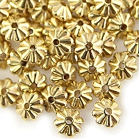 10mm Floral Rondelle - Small Hole - Gold