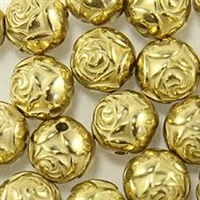 9mm Rosebud Antique Gold Washed