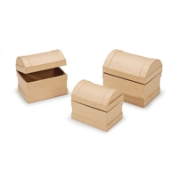 Paper Mache Chest Set - 4-1/4 - 3-3/4 - 3-1/2 inches