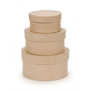 "Paper Mache Box Set of Three  Round - 7.75"", 8.75"", 9.75"""