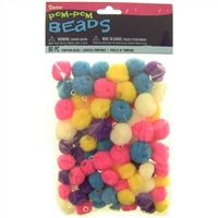 Darice® Pom Pom Beads for Crafts - Bright Colors - Assorted Sizes - 90 pieces