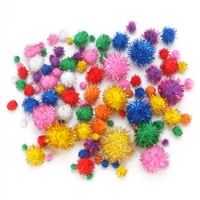 Tinsel Pom Poms - Bright Colors - Assorted Sizes - 100 pieces