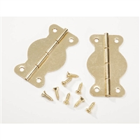 Iron Hinges with Brass Plated Screws - Curved - 1-3/4 inches