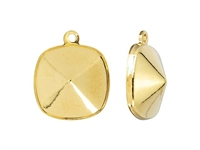 Swarovski Gold-Plated Charm Setting - Fits #4470 12mm Cushion Fancy Stone