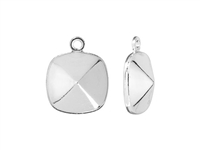 Swarovski Rhodium Plated Charm Setting - Fits #4470 12mm Cushion Fancy Stone