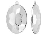 Swarovski Rhodium Plated Charm Setting - Fits #4127 Big Oval Fancy Stone -30 x 22mm