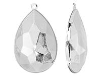 Swarovski Rhodium Plated Charm Setting - Fits #4327 Large Pear Fancy Stone -30 x 20mm