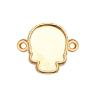 Gold Plated Skull Flatback Connector Setting - Fits Swarovski #2856 Skull