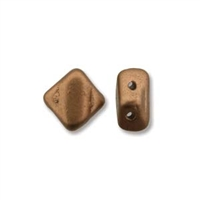 Silky Bead, 6mm, 2-Hole - Crystal Bronze Copper