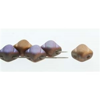 Silky Bead, 6mm, 2-Hole - Glittery Matte Bronze