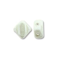 Silky Bead, 6mm, 2-Hole - Chalk/White Alabaster Luster