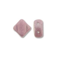 Silky Bead, 6mm, 2-Hole - Chalk/White Alabster Lilac Luster