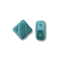 Silky Bead, 6mm, 2-Hole - Pastel Aqua