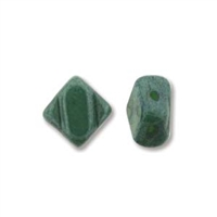 Silky Bead, 6mm, 2-Hole - Green Opaque Blue Luster