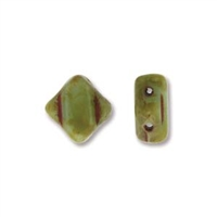 Silky Bead, 6mm, 2-Hole - Lt Green Turquoise Travertine